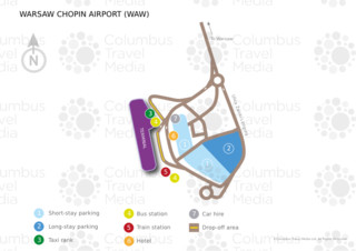 Map of Warsaw Chopin airport & terminal (WAW)