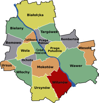 Map of Warsaw districts & boroughs
