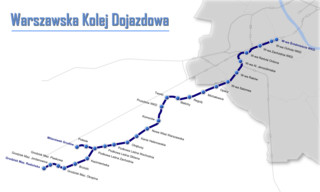 Map of Warsaw WKD train, urban, commuter & suburban railway network