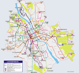 Map of Warsaw night bus network